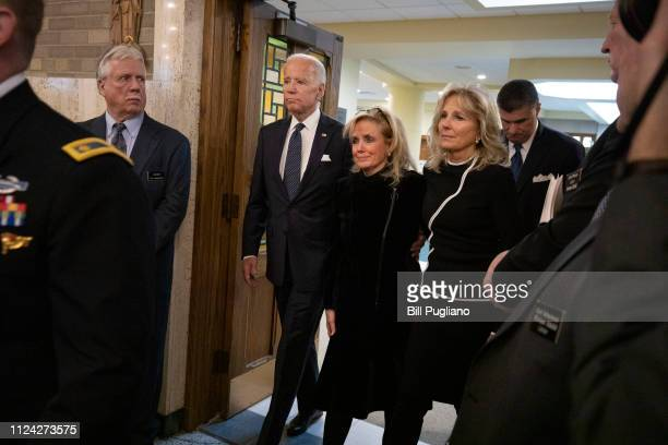 Congresswoman Debbie Dingell arrives with former Vice President Joe Biden and his wife Jill Biden for the funeral of her husband former congressman...
