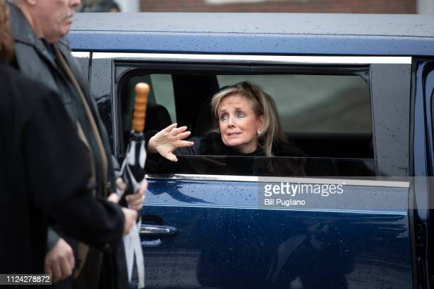 Congresswoman Debbie Dingell prepares to leave the Church of the Divine Child following the funeral of her husband, former congressman John Dingell,...