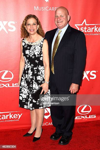 Congresswoman Debbie Wasserman Schultz and Steve Schultz attend the 25th anniversary MusiCares 2015 Person Of The Year Gala honoring Bob Dylan at the...