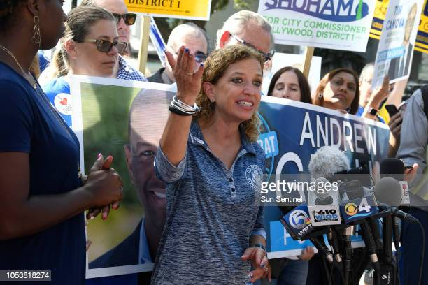 Congresswoman Debbie Wasserman Schultz answers questions from the press about the suspected packages found at her offices in Sunrise and Aventura...