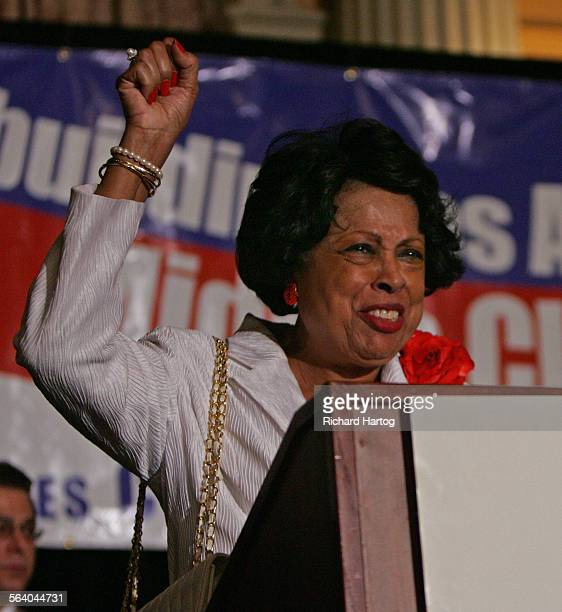 Congresswoman Diane E Watson speaks to a happy Democratic crowd during the Rebuilding The Middle Class event at the Biltmore Hotel Tuesday evening in...