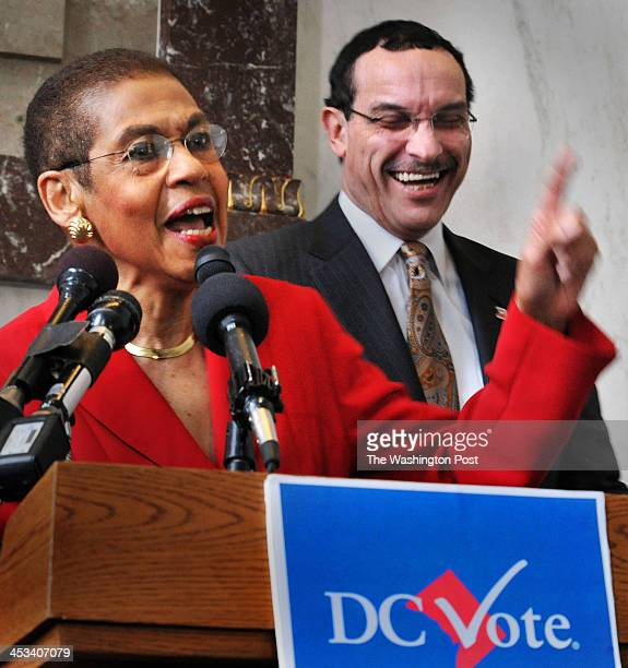 Congresswoman Eleanor Holmes Norton commenting on the mayor being in office only 3 days and is already protesting on the Hill and newly elected DC...