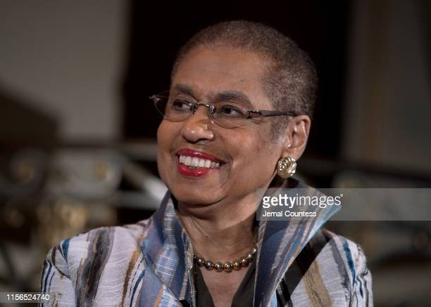 Congresswoman Eleanor Holmes Norton speaks onstage during The 9th Annual Elly Awards Hosted By The Women's Forum Of New York on June 17 2019 in New...