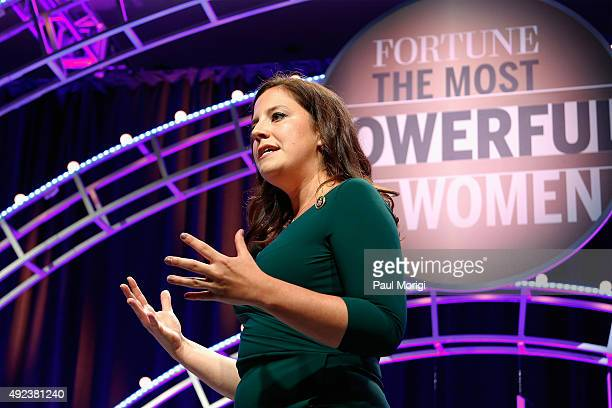 Congresswoman Elise Stefanik speaks onstage during Fortune's Most Powerful Women Summit Day 1 at the Mandarin Oriental Hotel on October 12 2015 in...