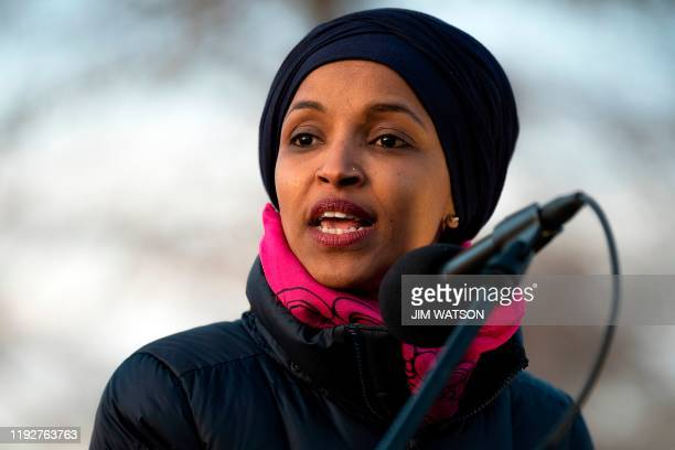 US Congresswoman Ilhan Omar DMN speaks on Capitol Hill in Washington DC on January 9 during a rally on No War with Iran