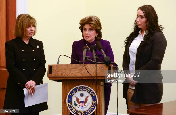 Congresswoman Jackie Speier Gloria Allred and Marine veteran Erika Butner who came forward to speak about her life and career after photos of her...