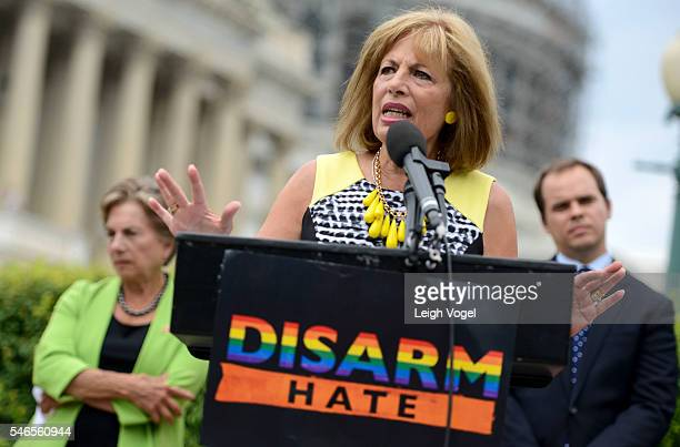 Congresswoman Jackie Speier joins members of MoveOnorg and members of Congress at an event to demand congress renew an assault weapons ban along with...
