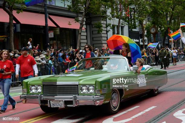 Congresswoman Jackie Speier rides in the San Francisco Gay Pride parade on June 25 2017 in San Francisco California