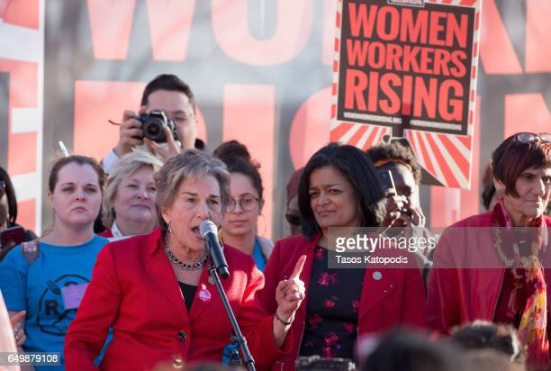 Congresswoman Jan Schakowsky Congresswoman Pramila Jayapal and Rep Rosa DeLauro speaks to the crowd of workers during the Women Workers Rising rally...