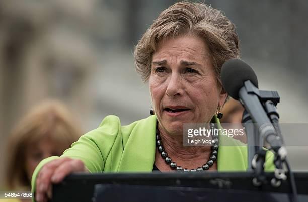 Congresswoman Jan Schakowsky joins members of MoveOnorg and members of Congress at an event to demand congress renew an assault weapons ban along...