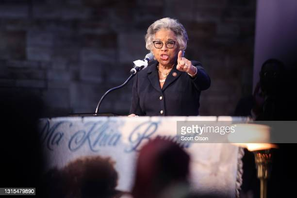 Congresswoman Joyce Beatty speaks at the funeral service for 16-year-old Ma'Khia Bryant at the First Church of God on April 30, 2021 in Columbus,...