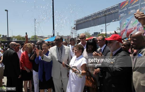 Congresswoman Karen Bass, City Councilmember Curren Price, Chairman and Chief Executive Officer of BET, Debra L. Lee, and Compton Mayor Aja Brown...