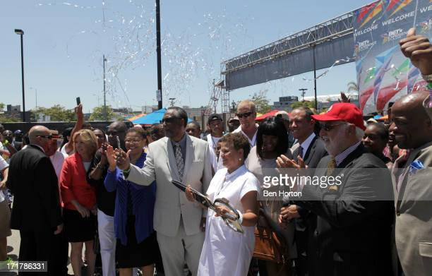 Congresswoman Karen Bass, City Councilmember Curren Price, Chairman and CEO of BET, Debra L. Lee, Compton Mayor Aja Brown, Chief Legal and...