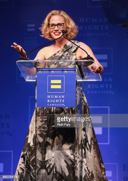 Congresswoman Kyrsten Sinema speaks onstage at The Human Rights Campaign 2018 Los Angeles Gala Dinner at JW Marriott Los Angeles at LA LIVE on March...
