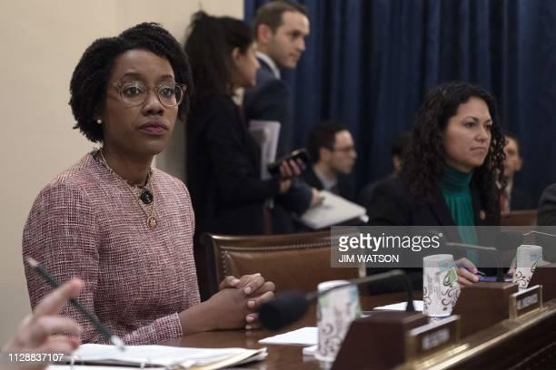 US Congresswoman Lauren Underwood DIL listens as Homeland Security Secretary Kirstjen Nielsen testifies before the House Homeland Security Committee...