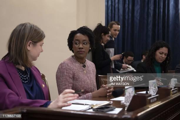 US Congresswoman Lauren Underwood DIL speaks with colleagues as Homeland Security Secretary Kirstjen Nielsen testifies before the House Homeland...