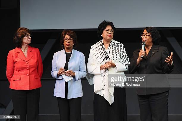 Congresswoman Lucille Roybal-Allard, congresswoman Maxine Waters, congresswoman Diane Watson and councilwoman Jan Perry speak at a reception at Inner...