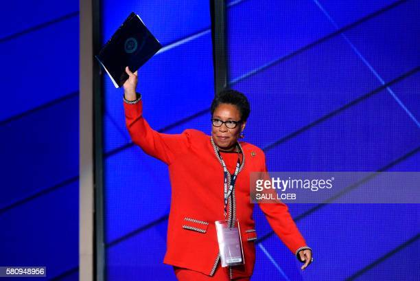 Congresswoman Marcia Fudge waves as she enters the stage during Day 1 of the Democratic National Convention at the Wells Fargo Center in Philadelphia...