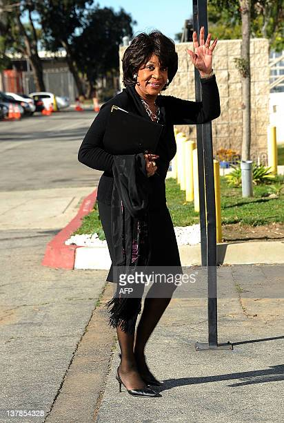 US Congresswoman Maxime Waters arrives at Etta James' funeral 2012 in Gardena California on January 28 2012 AFP PHOTO/VALERIE MACON