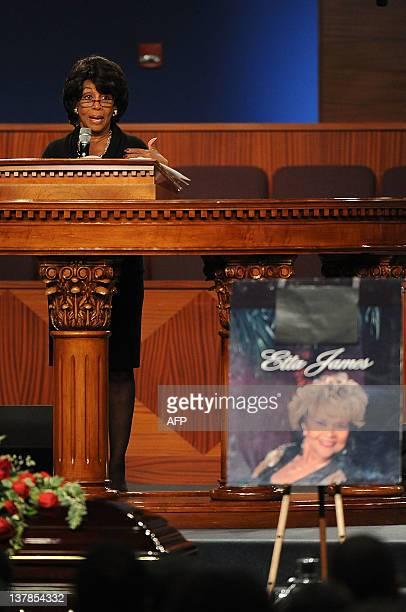US Congresswoman Maxime Waters speaks at Etta James' funeral 2012 in Gardena California on January 28 2012 AFP PHOTO/VALERIE MACON