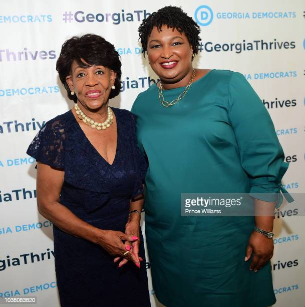 Congresswoman Maxine Waters and Stacey Abrams attend a celebration for Women for Abrams at The Gathering Spot on September 22 2018 in Atlanta Georgia