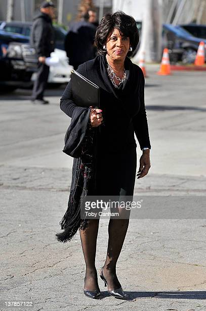 Congresswoman Maxine Waters arrives at the funeral of singer Etta James in the City Of Refuge Church on January 28 2012 in Gardena California