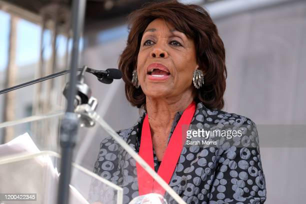 Congresswoman Maxine Waters speaks at the 4th Annual Women's March LA: Women Rising at Pershing Square on January 18, 2020 in Los Angeles, California.