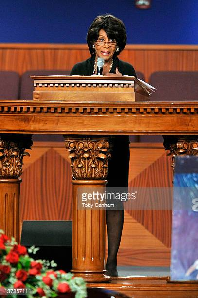 Congresswoman Maxine Waters speaks at the funeral of singer Etta James in the City Of Refuge Church on January 28 2012 in Gardena California