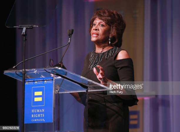 Congresswoman Maxine Waters speaks onstage during The Human Rights Campaign 2018 Los Angeles Gala Dinner at JW Marriott Los Angeles at LA LIVE on...