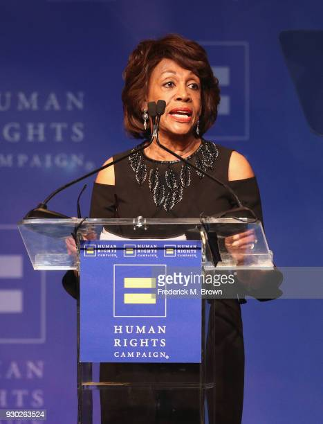 Congresswoman Maxine Waters speaks onstage during the Human Rights Campaign's 2018 Los Angeles Gala Dinner at JW Marriott Los Angeles at LA LIVE on...