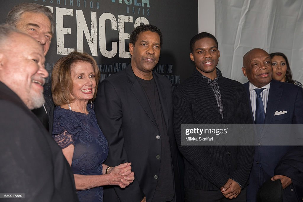 Congresswoman Nancy Pelosi, actor Denzel Washington, actor Jovan Adepo and former San Francisco Mayor Willie Brown arrive at the Premiere of 'Fences' at Curran Theatre on December 15, 2016 in San Francisco, California.