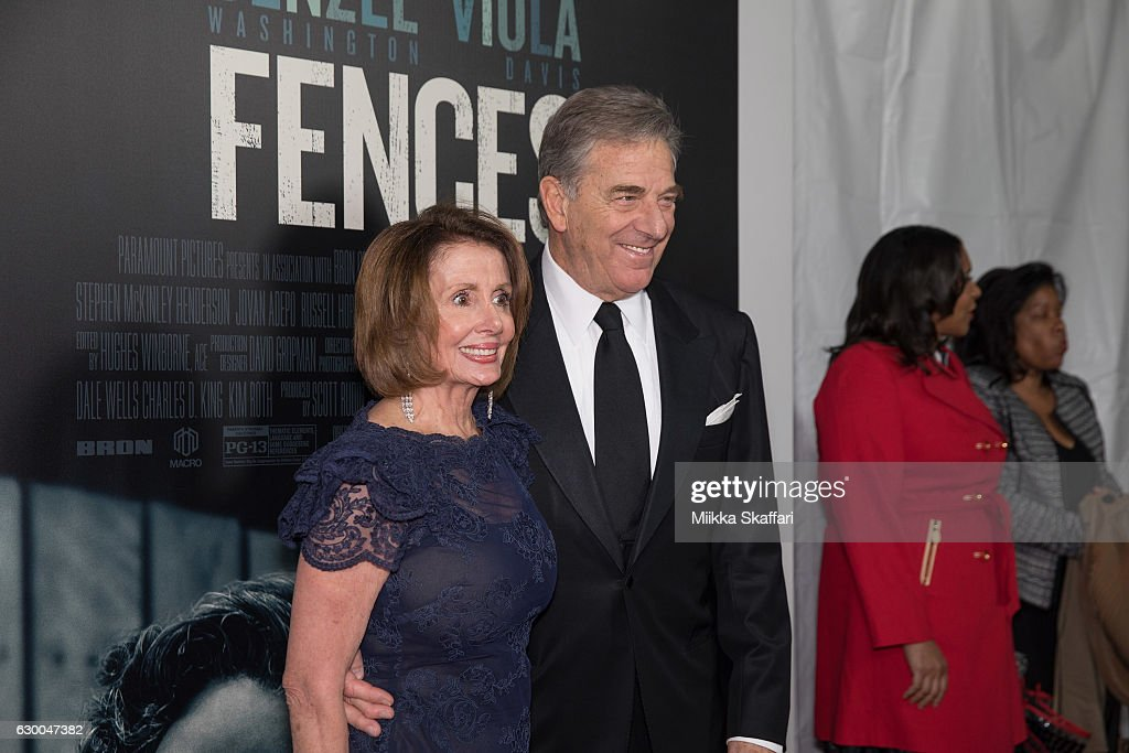 Congresswoman Nancy Pelosi and her husband Paul Pelosi arrive at the Premiere of 'Fences' at Curran Theatre on December 15, 2016 in San Francisco, California.