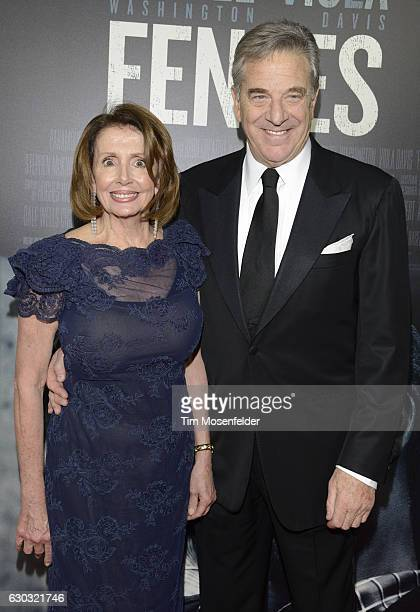 Congresswoman Nancy Pelosi and husband Paul Pelosi attend the premiere of Paramount Pictures' Fences at Curran Theatre on December 15 2016 in San...