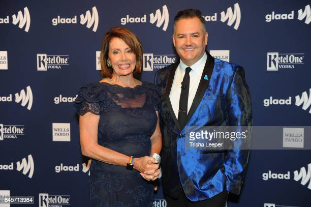 Congresswoman Nancy Pelosi and Ross Mathews at the 2017 GLAAD Gala at City View at Metreon on September 9 2017 in San Francisco California