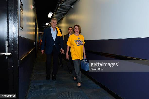 Congresswoman Nancy Pelosi arrives for the game of the Cleveland Cavaliers against the Golden State Warriors in Game Two of the 2015 NBA Finals on...