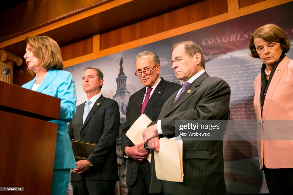 Congresswoman Nancy Pelosi (D-CA) speaks alongside Senator Mark Warner (D-VA), Senator Chuck Schumer (D-NY), Congressman Jerrold Lewis Nadler (D-NY), and Senator Dianne Feinstein (D-CA), on Capitol Hill on June 14, 2018 in Washington, DC. The inspector general released a report Thursday about a series of failures by officials in charge of the investigation.
