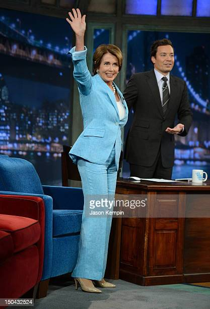 Congresswoman Nancy Pelosi visits Late Night With Jimmy Fallon at Rockefeller Center on August 17 2012 in New York City