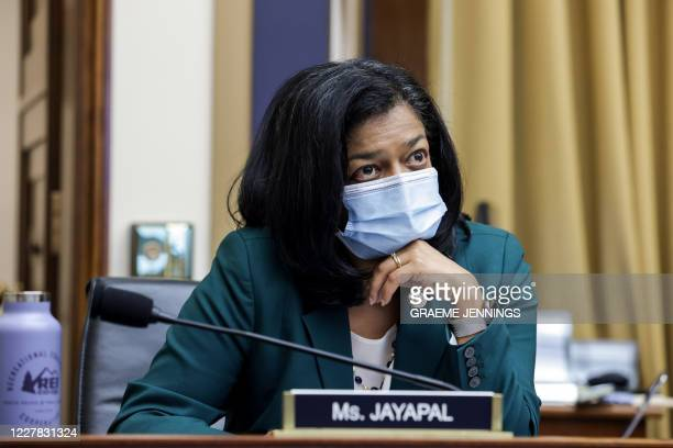 Congresswoman Pramila Jayapal, D-WA, looks on during an Antitrust, Commercial and Administrative Law Subcommittee hearing, on Capitol Hill, in...