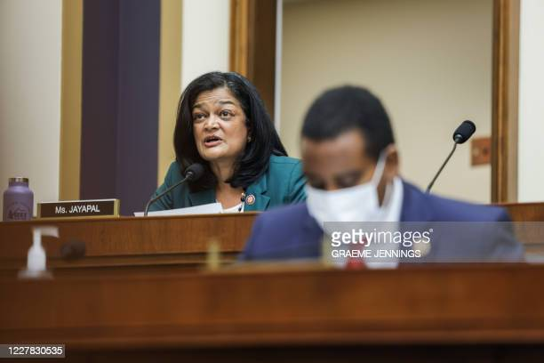 Congresswoman Pramila Jayapal, D-WA, speaks during the House Judiciary Subcommittee on Antitrust, Commercial and Administrative Law hearing on...