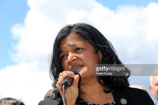 Congresswoman Pramila Jayapal speaks at a press conference outside a Federal Detention Center holding migrant women on June 9, 2018 in SeaTac,...