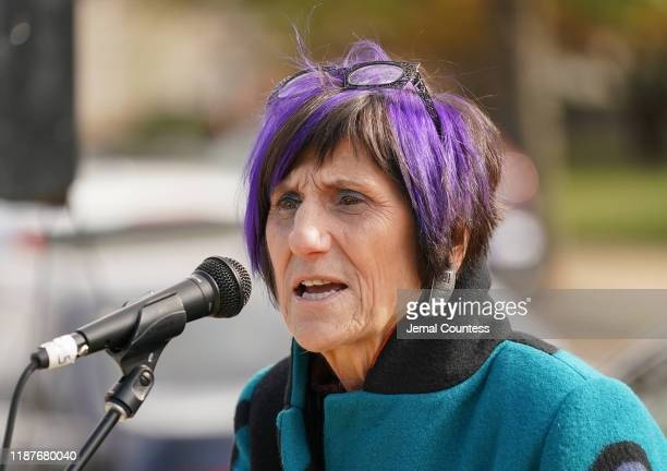 Congresswoman Rosa DeLauro of Connecticut speaks at a press conference organized to deliver 15 million petitions to the USDA to Save School Lunches...