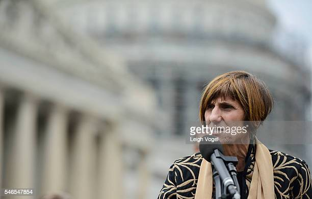 Congresswoman Rosa L DeLauro joins members of MoveOnorg and members of Congress at an event to demand congress renew an assault weapons ban along...