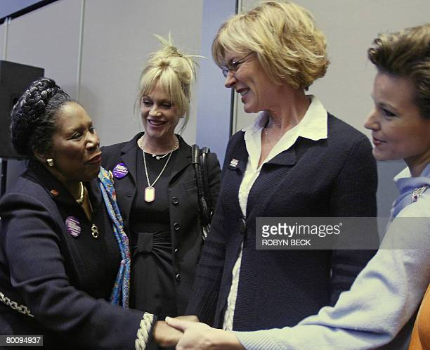 Congresswoman Sheila Jackson Lee greets Miss America 2000 Heather French Henry and actresses Melanie Griffith and Christine Lahti as they arrive for...