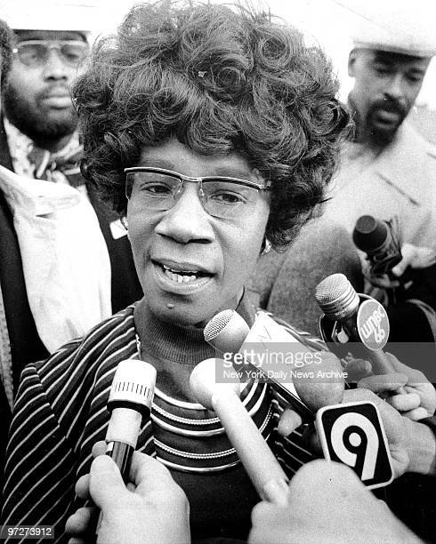 Congresswoman Shirley Chisholm speaking to members of the press at the ground breaking ceremonies for the CABS Nursing Home at Nostrand and DeKalb...