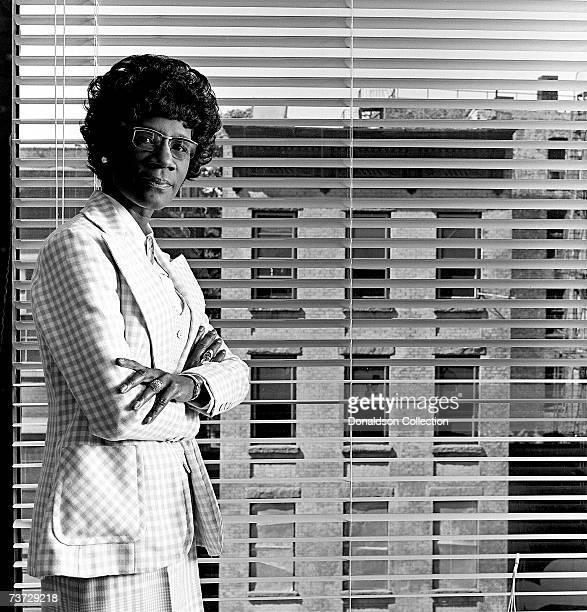 Congresswoman Shirley Chisolm poses for a photo shoot in 1974 at her office in Brooklyn New York