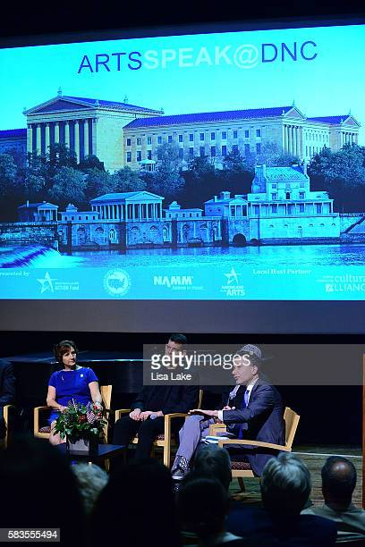 Congresswoman Suzanne Bonamici Director of MusicCorps Arthur Bloom and President and CEO of the National Constitution Center Jeffrey Rosen speak at...
