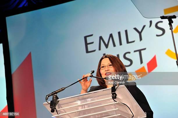 Congresswoman Tammy Duckworth speaks at EMILY's List 30th Anniversary Gala at Washington Hilton on March 3 2015 in Washington DC