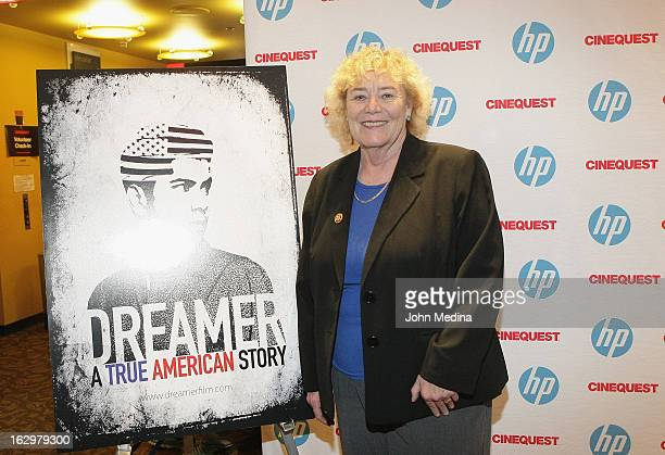 S Congresswoman Zoe Lofgren poses for a photo before the premier of Dreamer during the Cinequest Film Festival at San Jose Repertory Theatre on March...
