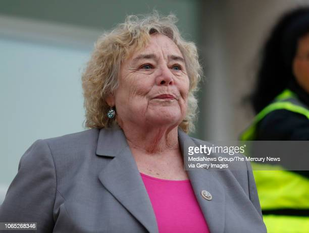 Congresswoman Zoe Lofgren waits to speak during a protest over the firing of Attorney General Jeff Sessions at San Jose City Hall in San Jose Calif...