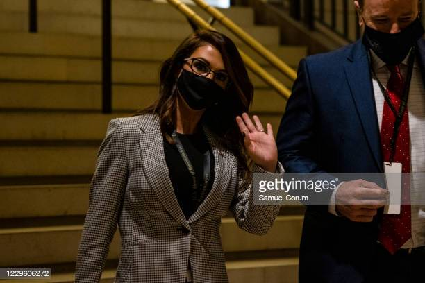 Congresswoman-elect Lauren Boebert arrives at the U.S. Capitol on November 13, 2020 in Washington, DC. Newly elected members of the House of...